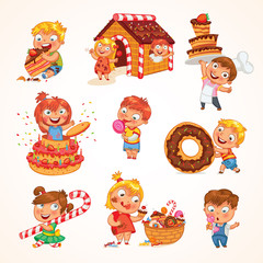 Sweet tooth. Funny cartoon character. Set