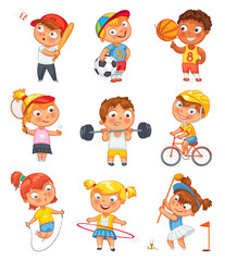 Sports and fitness. Funny cartoon character