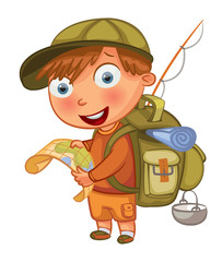 Boy Scouts. Funny cartoon character