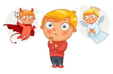 Choice between good and evil. Funny cartoon character