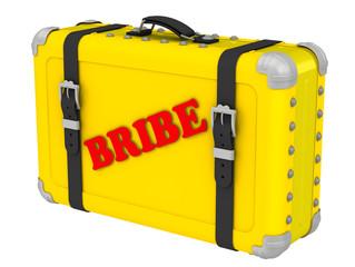 Взятка (Bribe). Надпись на желтом чемодане
