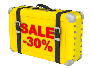 Распродажа -30% (Sale -30%). Надпись на желтом чемодане