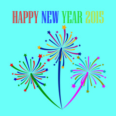brightly colorful firework happy new year vector