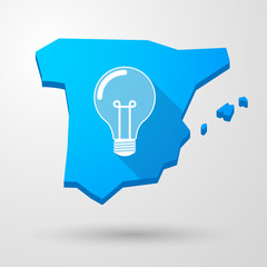Spain map icon with a light bulb