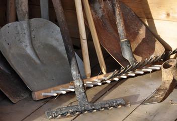Garden tools, rakes, shovel, spade