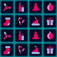seamless background with Christmas symbols