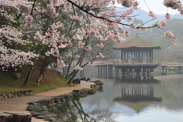 桜満開の浮見堂