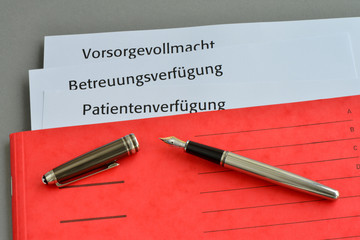 Patientenverfügung, Vorsorgevollmacht, Betreuungsverfügung