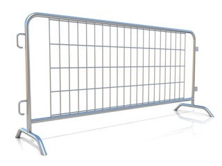 Steel barricades, isolated on white background. Side view
