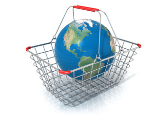 Globe in steel wire shopping basket isolated on a white