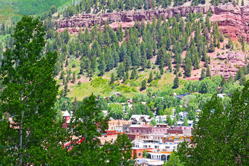 Telluride town center surrounded by mountain hillsides, Colorado