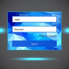 Polygonal blue login form.