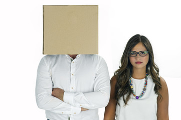 A man with a cardboard box covering his head and a woman