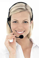 Portrait of a female call center operator
