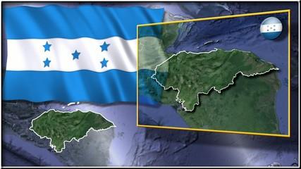 Honduras flag and map animation