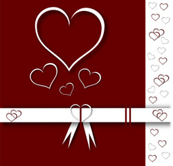 valentine card with ribbons and white hearts on red background