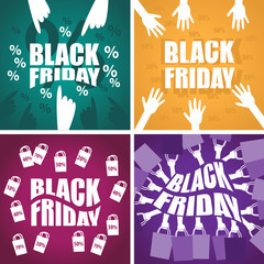 Black Friday Background Set - Vector Illustration