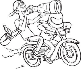 whiteboard drawing - paparazzi riding motorbike on full speed