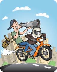 Paparazzi riding motorbike on full speed