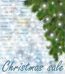 Christmas sale winter card, vector illustration