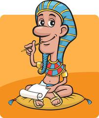 Pharaoh sitting writing a letter