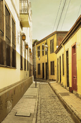 Vintage image of the empty street of Valparaiso.