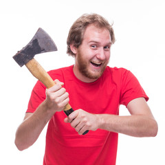 Mad man with an ax