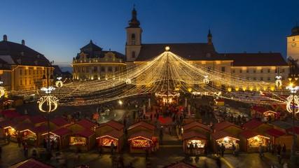 Sibiu Christmas Market day to night time lapse