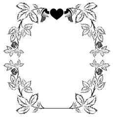 Elegant frame with roses and text free area