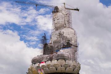 Guan Yin statue under construction, Wat huay pla kang , Chiang R