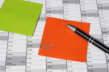 Terminkalender Büro Klebezettel Bunt