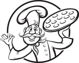 whiteboard drawing - cartoon pizza chef mascot - 75215798