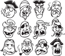 whiteboard drawing - pirate faces collection