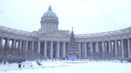 Kazan Cathedral in winter. St Petersburg. Russia.