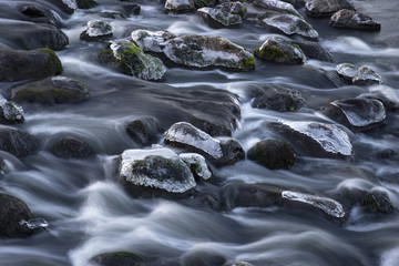 Rocks with ice in streaming water