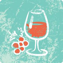 Retro Hand Drawn Textured Icon - Wine