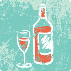 Retro Hand Drawn Textured Icon - Bottle of Wine