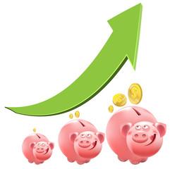 Pig piggy bank. Interest money