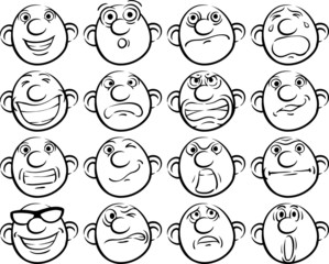 black and white drawing - set of smileys