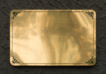 Shiny brass metal sign texture