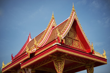 thai temple roof with blue sky ,Thailand