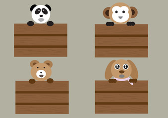 mix animals standing on wood box