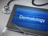 dermatology word display on tablet poster