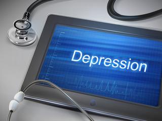 depression word display on tablet