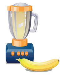 Blender and banana fruit smoothie