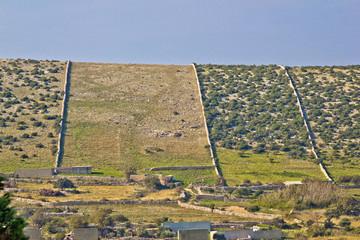 Walls of Pag island stone desert