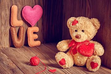 Valentines Day. Teddy Bear Loving. Hearts, Word Love. Retro.
