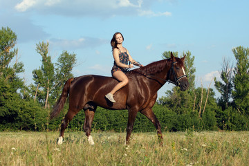 Vacations evening riding girl