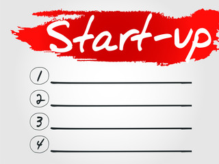 Start-Up Blank List, vector concept background
