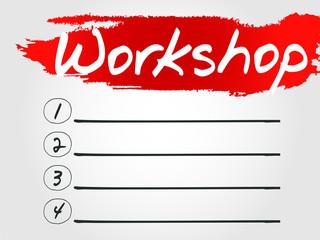 Workshop Blank List, vector concept background